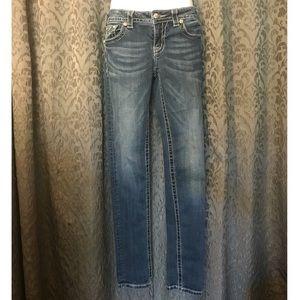 Miss Me Jeans Size 28 Rhinestone Fleur De Lis
